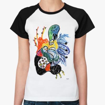 Женская футболка реглан Женская футболка реглан, бел/черн,