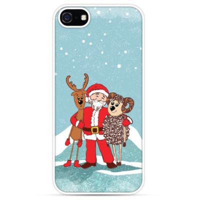 Чехол для iPhone Дед Мороз, Олень и Овечка
