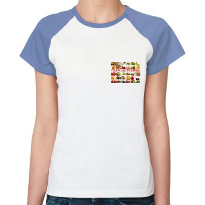 Женская футболка реглан Веганы класные!
