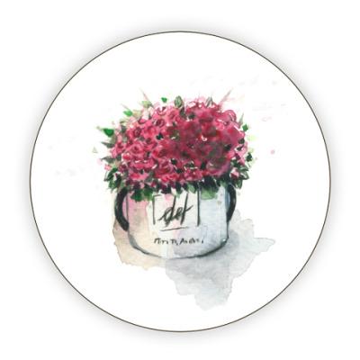 Костер (подставка под кружку) акварельный подарочный букет роз в круглой коробке