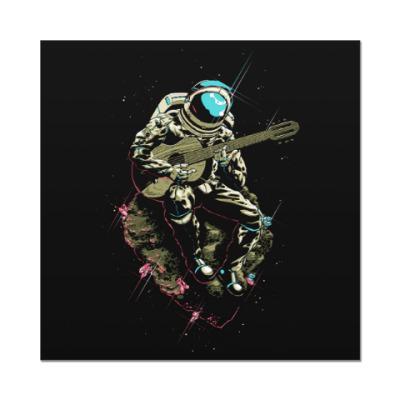 Наклейка (стикер) Космонавт с гитарой