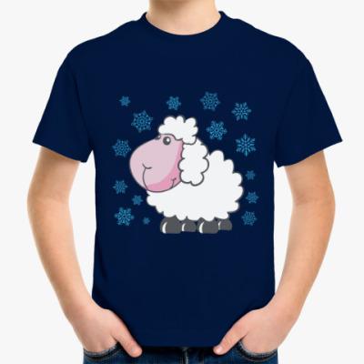 Детская футболка Овечка и снежинки