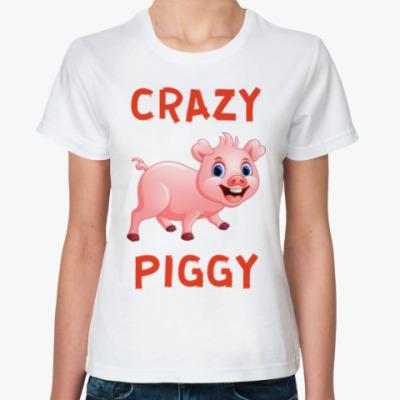 Классическая футболка CRAZY PIGGY
