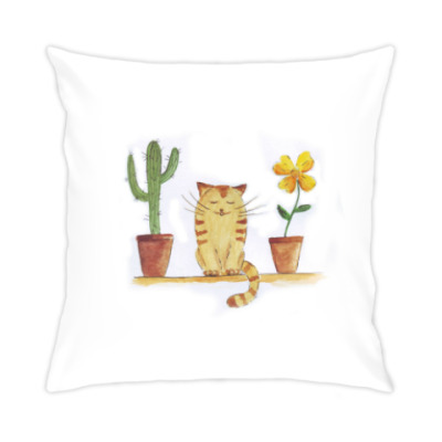 Подушка кот и кактус