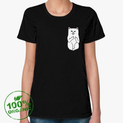 Женская футболка из органик-хлопка Kitty with fuck