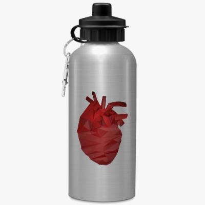 Спортивная бутылка/фляжка Сердце 3D