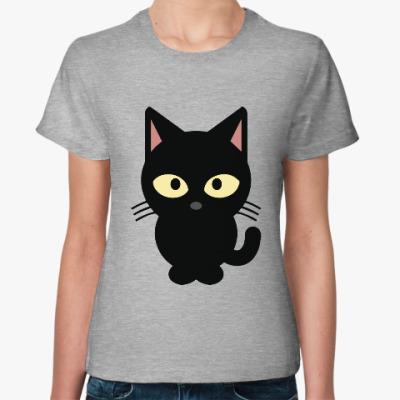Женская футболка Черный Котик
