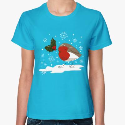 Женская футболка Рождественская птица малиновка