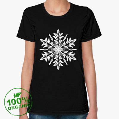 Женская футболка из органик-хлопка Снежинка