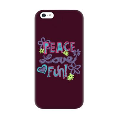 Чехол для iPhone 5c Мир, Любовь, Веселье!