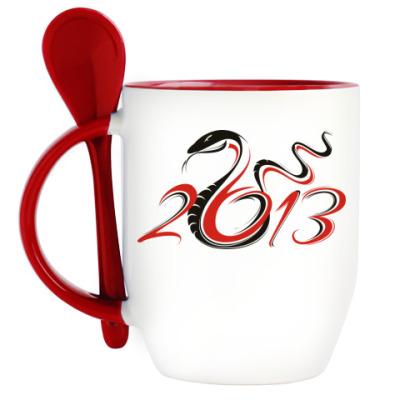 Кружка с ложкой Год змеи 2013