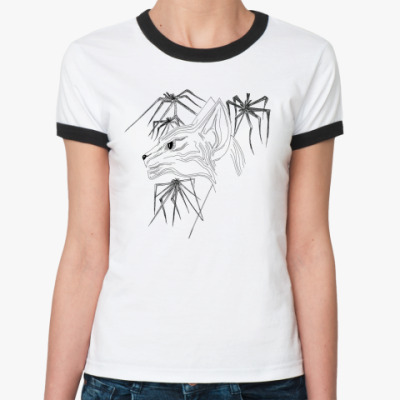 Женская футболка Ringer-T Кошка Сфинкс