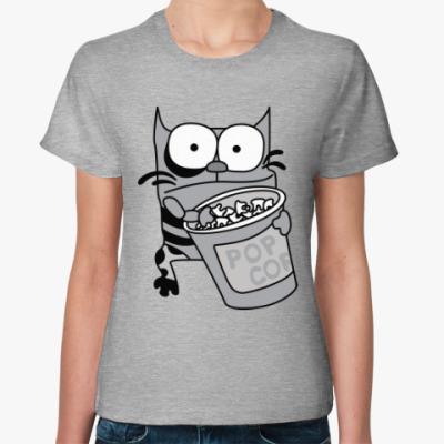 Женская футболка Упячка Кот