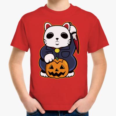 Детская футболка Halloween Maneki Neko и тыква