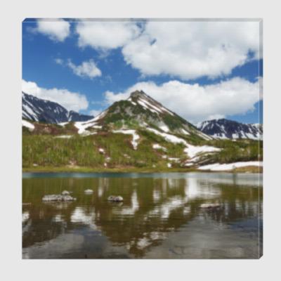 Холст Полуостров Камчатка, горы, горное озеро, отражение