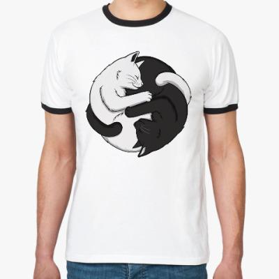 Футболка Ringer-T Черный и белый кот инь-ян
