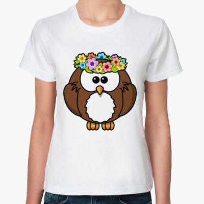 Классическая футболка Сова с цветами