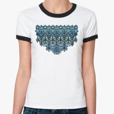Женская футболка Ringer-T Ажур,кружево,узор,arabesque,мавританский