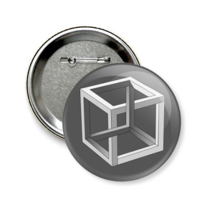 Значок 58мм Невозможный Куб 3D