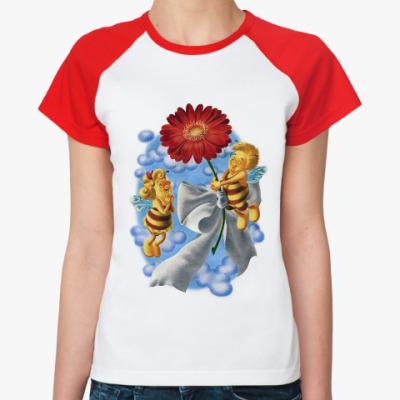 Женская футболка реглан Пчёлки и цветок
