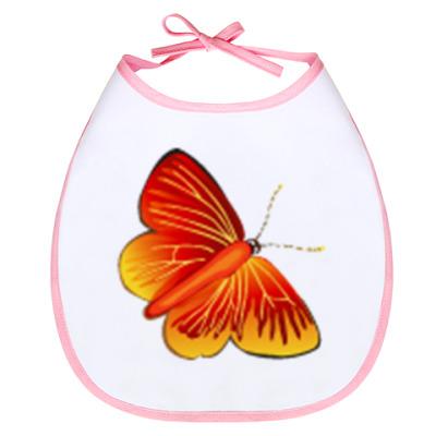 Слюнявчик Слюнявчик Бабочка (бел-роз)