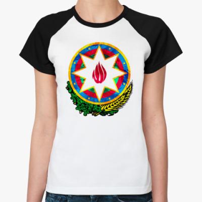 Женская футболка реглан Герб Азербайджана
