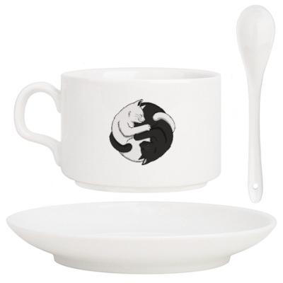 Кофейный набор Черный и белый кот инь-ян