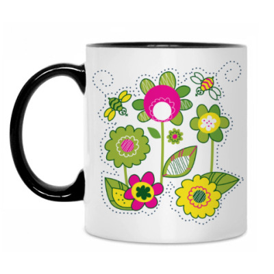 Кружка Солнечные цветы и пчелы