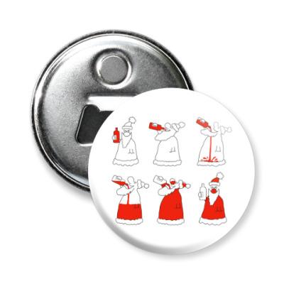 Магнит-открывашка Новогодний прикольный дед мороз