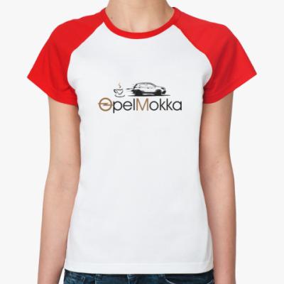 Женская футболка реглан Реглан Женская (бел/красн)