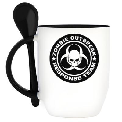 Кружка с ложкой Zombie outbreak response team
