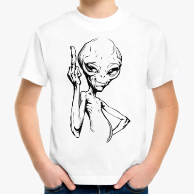 Детская футболка смешной пришелец (funny alien)