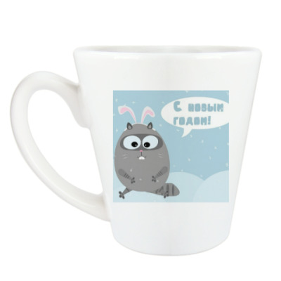 Чашка Латте Новогодний кот.