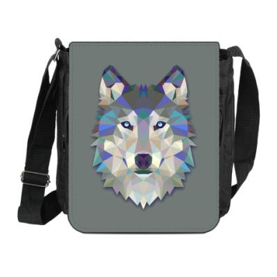Сумка на плечо (мини-планшет) Волк геометрия