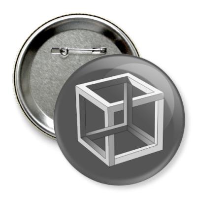 Значок 75мм Невозможный Куб 3D