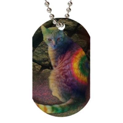 Жетон dog-tag Радужный кот