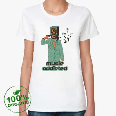 Женская футболка из органик-хлопка Music addicted