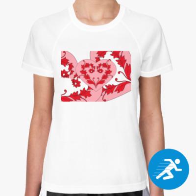 Женская спортивная футболка Цветочный узор с сердечком
