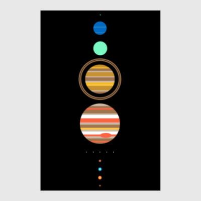 Постер Солнечная система минимализм
