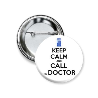 Значок 37мм KEEP CALM and DOCTOR WHO