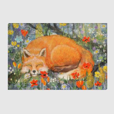 Холст Картина Спящая лиса