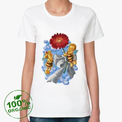 Женская футболка из органик-хлопка Пчёлки и цветок