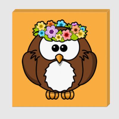 Холст Сова с цветами