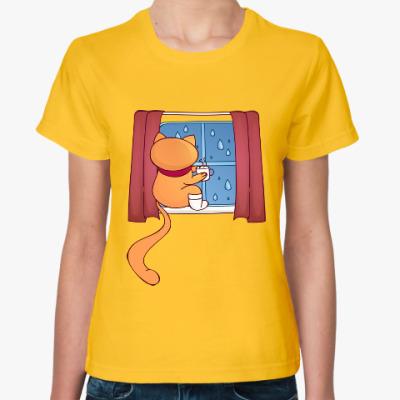 Женская футболка Кот. Чай. Дождь