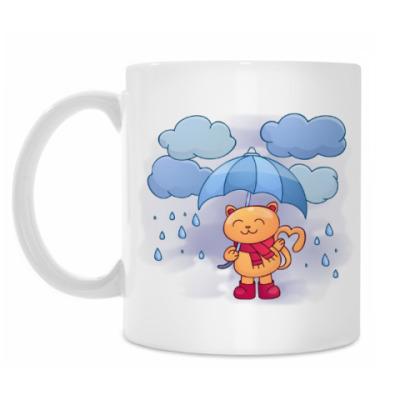 Кружка Кот под зонтом