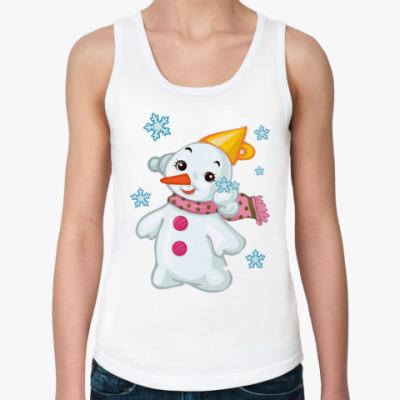 Женская майка Снеговик и снежинки