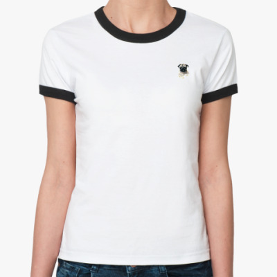 Женская футболка Ringer-T Мопс