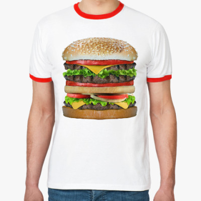 Футболка Ringer-T Вкусняшка гамбургер