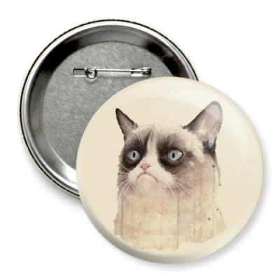 Значок 75мм Grumpy Cat / Сердитый Кот