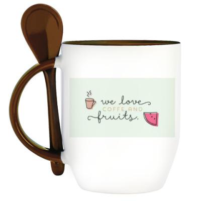 Кружка с ложкой We love coffee..